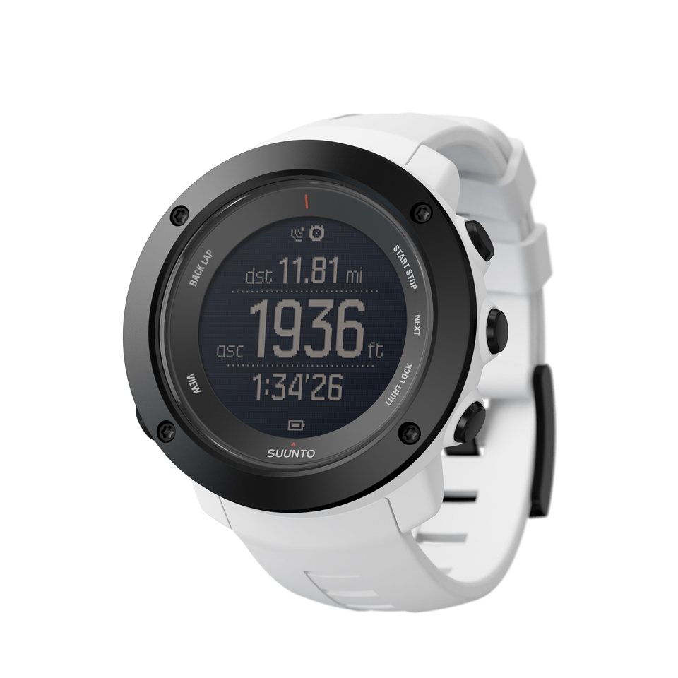 Suunto Ambit3 Vertical White Hr Go Outdoor Peak Sapphire Black Gps Watch For Sports Ss021967000 Perspective View Asc Dst Dur Imperial Negative