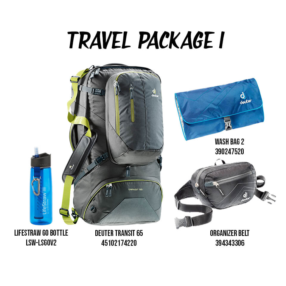exclusive range factory price special for shoe New Year Resolution Travel Package 1 - Deuter Transit 65 (Anthracite Moss),  Organizer Belt (Black Anthracite), Wash Bag II (Midnight Turquoise), ...